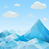 Abstract mountain landscape in polygonal origami style Stock Photography