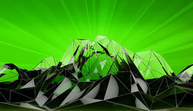 Abstract mountain landscape in polygonal segments. 3d Illustration Royalty Free Stock Photography