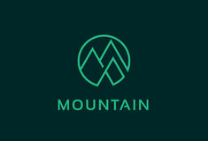 Abstract Mountain People and Triangle Logo Template Design Vector, Emblem, Design Concept, Creative Symbol, Icon. This design suitable for logo or icon Stock Photos
