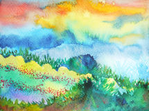 Abstract mountain watercolor painting landscape hand drawn royalty free illustration