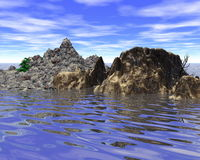 Abstract mountainous island in the sea. Abstract mountainous little island in the sea (digitally rendered Royalty Free Stock Photography