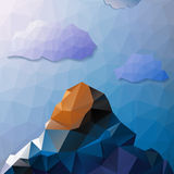 Abstract mountains and sky with clouds in triangle design Stock Photography