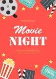 Abstract Movie Night Cinema Flat Background with Reel, Old Style Ticket, Big Pop Corn and Clapper Symbol Icons. Vector. Illustration EPS10 royalty free illustration