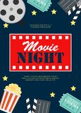 Abstract Movie Night Cinema Flat Background with Reel, Old Style Ticket, Big Pop Corn and Clapper Symbol Icons. Vector stock illustration