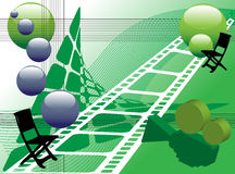 Abstract movie studio. Abstract colored illustration with green movie camera, white film strip and director chairs stock illustration