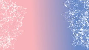 Abstract moving background for title text in the center. White dots connected with lines on 2016 Pantone color mix Rose Quartz royalty free illustration