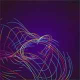 Abstract Moving Colorful Lines on Dark Background. Vector royalty free illustration