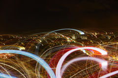 Abstract moving light trails Stock Images