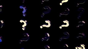 Abstract of moving question marks on black background. Animation. Moving background with mirrored question marks stock illustration