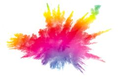 Abstract multi color powder explosion on white background. Freeze motion of color dust particles splash. Painted Holi royalty free stock image