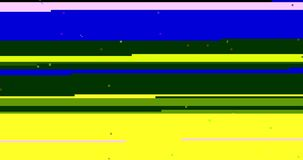 Abstract multi color realistic screen glitch flickering, analog vintage TV signal with bad interference and color bars, static. Noise background, overlay ready stock video footage