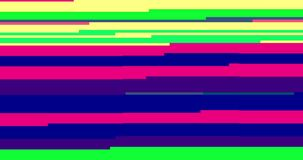 Abstract multi color realistic screen glitch flickering, analog vintage TV signal with bad interference and color bars, static. Noise background, overlay ready stock footage