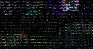 Abstract multi color realistic screen glitch flickering, damage old movie effect, analog vintage TV signal with bad interference. And color bars, static noise