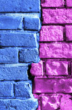 Abstract multi-colored brick wall Stock Images
