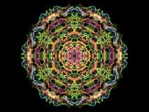 Abstract multi colored flame mandala flower, ornamental hexagonal pattern on black background.  stock illustration