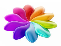 Abstract multi-colored flower shape. 3D illustration. Abstract multi-colored flower shape  on white background. 3D illustration Royalty Free Stock Image