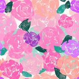 Abstract multi-colored hand painted roses with canvas texture effect. Seamless vector pattern vector illustration