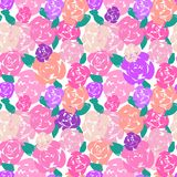 Abstract multi-colored hand painted roses on white. Seamless vector pattern. Great for home decor, apparel, stationery stock illustration