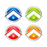Abstract Multi Colored Home Circle Icon Set. Abstract Multi Colored Home Circle Icon Vector Symbol Graphic Logo Design Set Royalty Free Stock Images