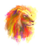 Abstract multi-coloured illustration head of the lion . Royalty Free Stock Photography