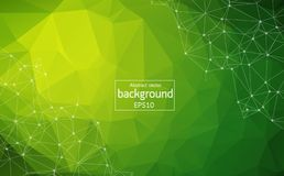 Abstract Multi green Polygonal Space Background with Connecting Dots and Lines. Geometric Polygonal background molecule and commun. Ication. Concept of science royalty free illustration