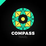 Abstract multicolor compass symbol. Vector logotype design template. Modern concept for travel. Abstract multicolor compass symbol. Vector logotupe design stock illustration