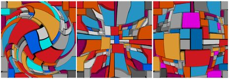 Abstract multicolor composition of three-dimensional elements. H. Abstract multicolor composition of three parts, consisting of three-dimensional elements Royalty Free Stock Images