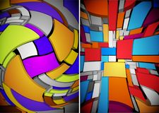 Abstract multicolor composition of three-dimensional elements. H. Abstract multicolor composition of three parts, consisting of three-dimensional elements Royalty Free Stock Photo