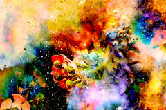 Abstract multicolor flower motive collage with dynamic fire effect in space. Abstract multicolor flower motive collage with dynamic fire effect in space Stock Photo