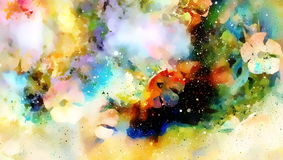 Abstract multicolor flower motive collage in space. Royalty Free Stock Photo