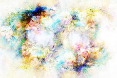 Abstract multicolor flower motive collage in space. Royalty Free Stock Photos