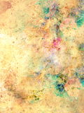 Abstract multicolor flower motive collage in space. Old effect. Royalty Free Stock Photos