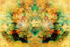Abstract multicolor flower motive collage in space. Old effect. Stock Photography