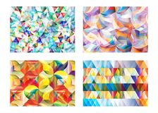 Abstract multicolor geometric polygonal circle vector background set. Abstract multicolor geometric polygonal and circle vector background set Stock Photo