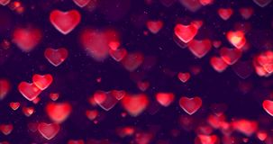 Abstract multicolor gradient red and purple gradient background with bokeh glitter and red hearts shape flowing, valentine day. Love relationship holiday event stock video footage