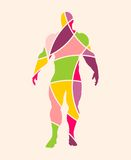 Abstract multicolor illustration of bodybuilder Stock Image