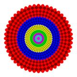 Abstract multicolor mandala, Flower isolated on white background, Rainbow colored bloom, Colorful esoteric petal mandala Royalty Free Stock Image