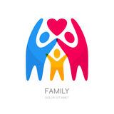Abstract multicolor people silhouette. Illustration of happy family or kids. Vector logo design template. Concept for charity, social network, partnership Stock Photography