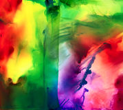 Abstract multicolor red blue smudged. Colorful background hand drawn with bright inks and watercolor paints. Color splashes and splatters create uneven artistic Royalty Free Stock Images