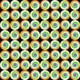 Abstract multicolor tile pattern, Colorful circles or rings on black background, Tiled texture, Seamless illustration royalty free illustration