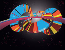Abstract Multicolored 3D Wiel in Ruimte Stock Illustratie