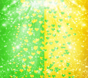 Abstract multicolored background with blur bokeh and hearts Royalty Free Stock Image
