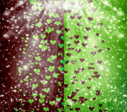 Abstract multicolored background with blur bokeh and hearts Royalty Free Stock Photo