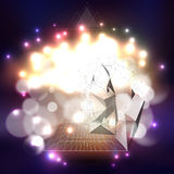 Abstract multicolored background with bokeh lights. Abstract multicolored backgrounds with bokeh lights and stars. Vector 3D pyramids, scientific or digital stock illustration