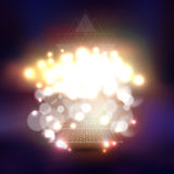 Abstract multicolored background with bokeh lights. Abstract multicolored backgrounds with bokeh lights and stars. Vector 3D pyramids, scientific or digital vector illustration