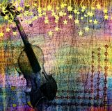 Abstract multicolored background with violin and stars Royalty Free Stock Photos