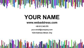 Abstract business card template design - vector name card graphic with vertical stripes. Abstract multicolored business card template design - vector name card Royalty Free Stock Images