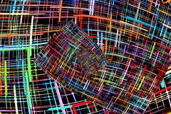 Abstract multicolored checkered fractals pattern. Comic background. Digitally generated image royalty free illustration