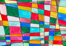 Abstract multicolored checkered pattern. Hand painted abstract multicolored checkered pattern drawn by watercolors on paper Royalty Free Stock Photography