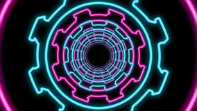 Abstract Multicolored Cogwheel Tunnel. An opt art 3d illustration of an abstract tunnel from bright celeste and pink cogs and pinions in the black background stock illustration